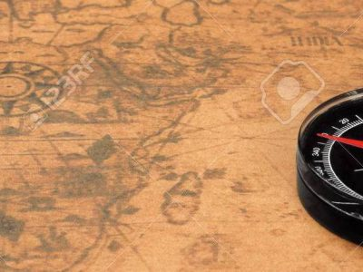 Magnetic Compass On The Old Map Background, Closeup, Front View Horizontal Image